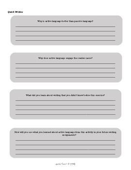 Independent Reading Worksheet: Active Language