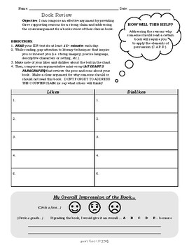 Independent Reading Worksheet: Book Review
