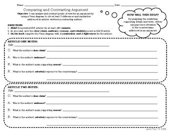 Independent Reading Worksheet: Comparing and Contrasting Arguments