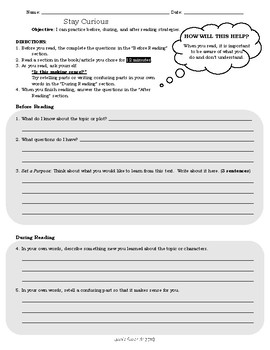 Independent Reading Worksheet: Stay Curious