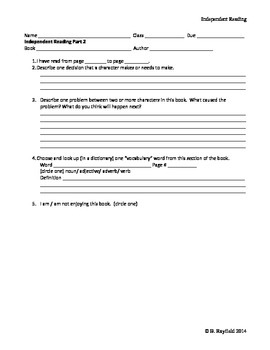 Independent Reading Worksheets for middle grades