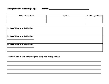 Independent Reading and New Definitions Log