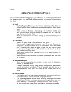 Independent Reading Project 1