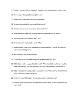 Independent Reading/SSR Resources: Reading Response Questions