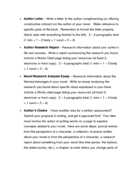 Independent Reading/SSR Resources: Student Choice Assessment Projects