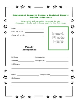 Independent Research - Become a Resident Expert: Notable Scientists