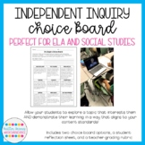 Independent Research Choice Boards: Can be used with any inquiry topic!