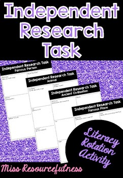 Independent Research Task, Literacy Reading Group Rotation Activity
