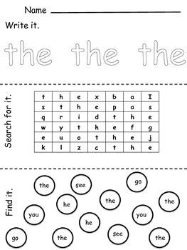 Independent Sight Word Activities