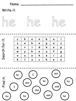 Independent Sight Word Activities Full Set