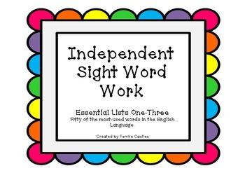 Independent Sight Word Work