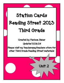 Independent Stations Cards - Reading Street 2013 - 3rd Grade - Unit 2