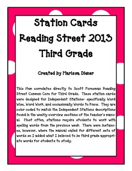 Independent Stations Cards - Reading Street 2013 - 3rd Grade - Unit 6