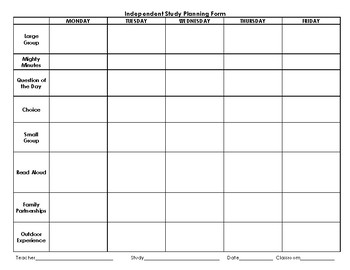 Independent Study Planning Forms