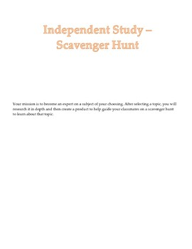 Independent Study Project - Scavenger Hunt