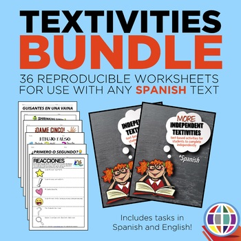 Independent Textivities BUNDLE: 36 reproducible worksheets for Spanish classes