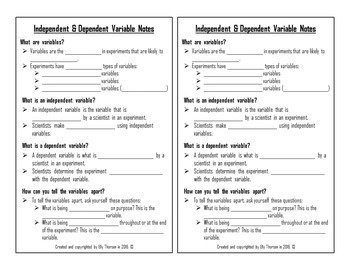 Independent Variable and Dependent Variable Interactive Notebook Pages