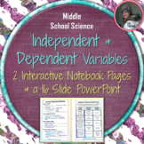 Independent and Dependent Variables Interactive Notebook Pages and PowerPoint