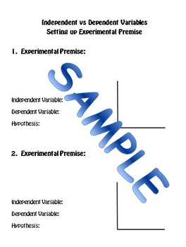 Independent Variable vs Dependent Variable Practice:  Scientific Method
