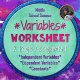 Independent Variables, Dependent Variables, and Constants Worksheet