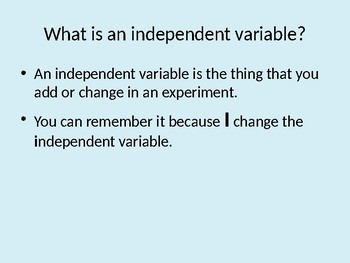 Independent Variables: Self-Paced Lesson