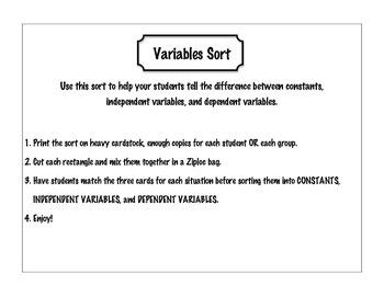 Independent/ Variables Sort