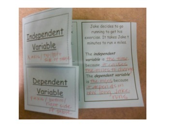 Independent Versus Dependent Variables in Context Foldable