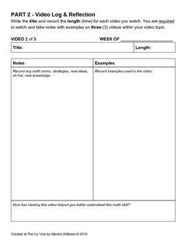 Independent Video Learning Log (Grade 6)