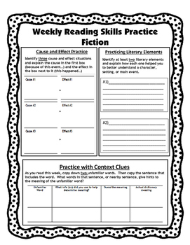 Independent Weekly Reading Practice-Fiction