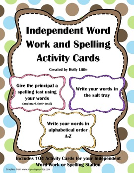 Independent Word Work and Spelling Activity Cards