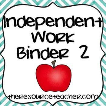 Independent Work Binder 2 (Adapted Tasks for Special Education)
