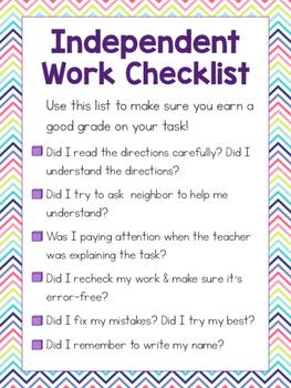 Independent Work Checklist