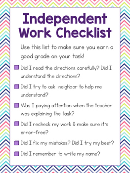 Independent Work Checklist
