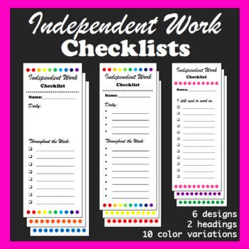 Independent Work Checklists