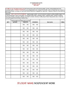 Independent Work Data sheet - Editable