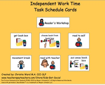 independent work time task schedule cards by kids get social tpt