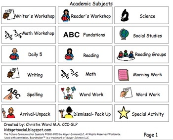 Independent Work Time- Task Schedule Cards