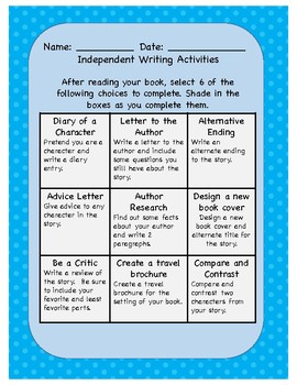 Independent Writing Activities - Choice Board
