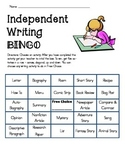 Independent Writing Bingo Board Daily Five Activity