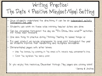 Independent Writing: Today's Date & Positive Mindset w/Goal Setting *Free*