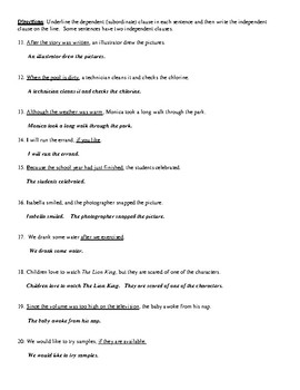Independent and Dependent (Subordinate) Clause Review with Detailed Answer Key