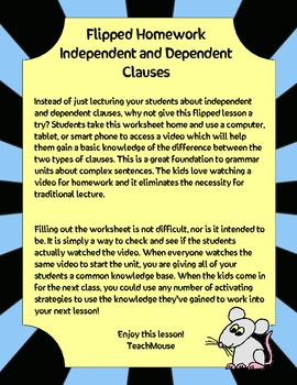 Independent and Dependent Clauses Flipped Lesson