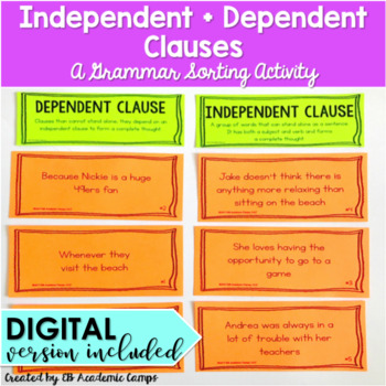 Independent And Dependent Clauses Sort Activity Tpt