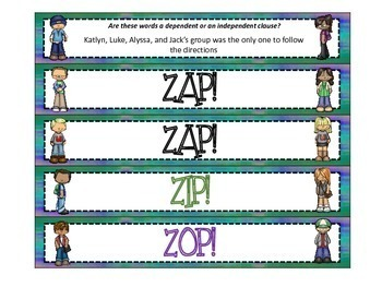 Independent and Dependent Clauses ZAP!