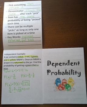 Independent and Dependent Proability Foldable Notes SOL 6.16, 8.12