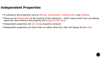 Independent and Dependent Properties of Matter