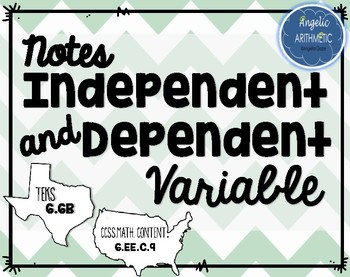 Independent and Dependent Variable Notes- 6th Grade Mathematics