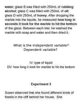Independent and Dependent Variable Practice