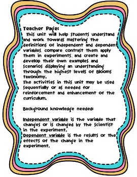 Independent and Dependent Variables Activities Pack