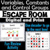 Independent and Dependent Variables Activity: Scientific Method Escape Room